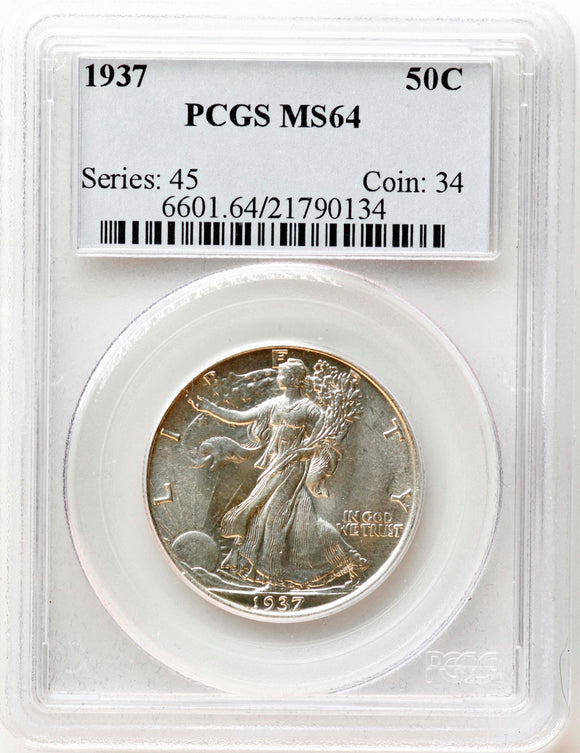 1937 Walking Liberty 50CT PCGS MS64