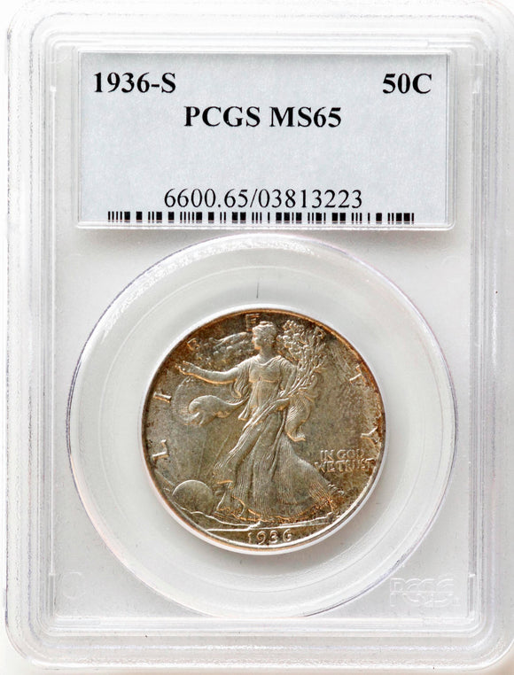 1936-S Walking Liberty 50CT PCGS MS-65