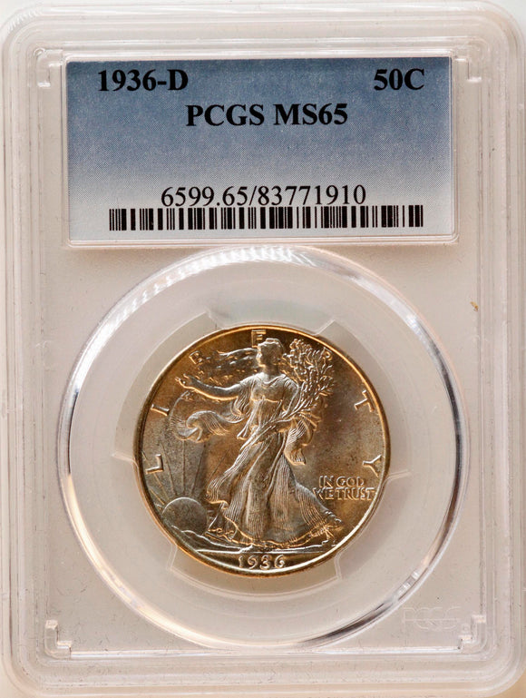 1936-D Walking Liberty 50CT PCGS MS-65
