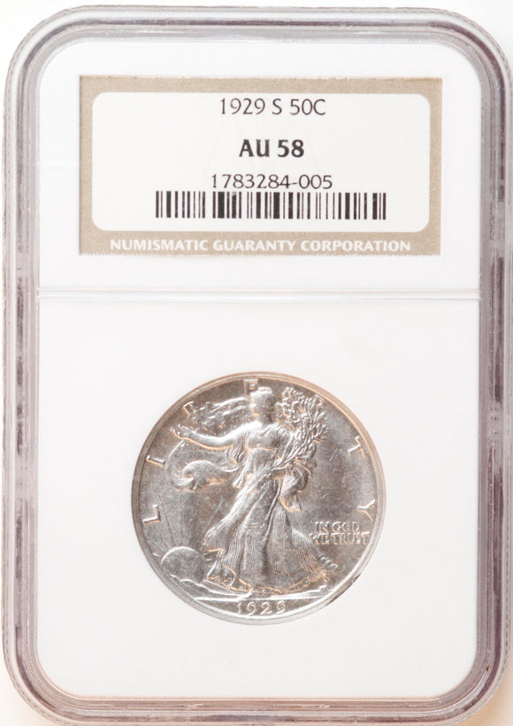 1929-S Walking Liberty 50CT NGC AU-58