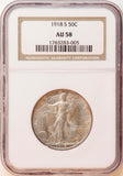 1918-S Walking Liberty 50CT NGC AU-58