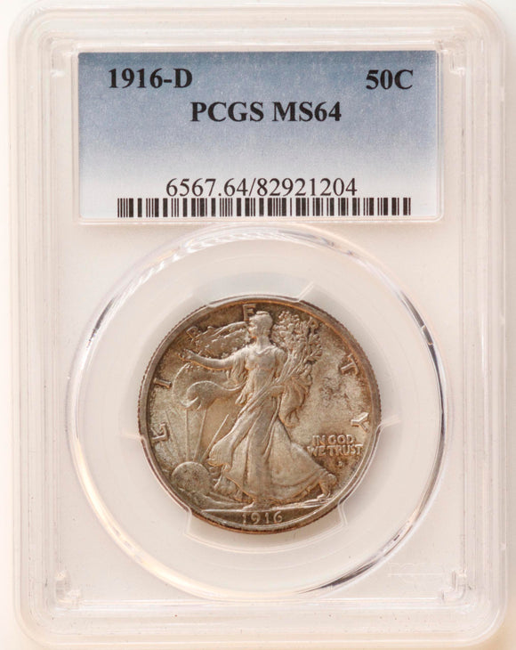 1916-D Walking Liberty 50CT PCGS MS-64