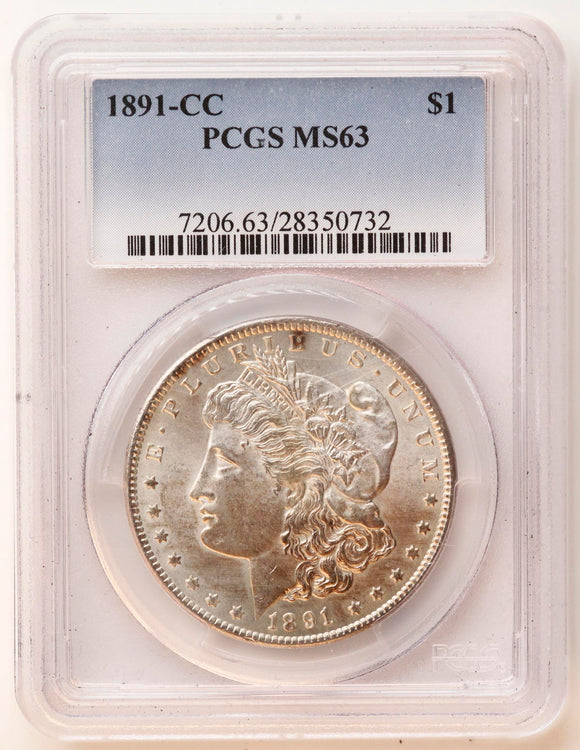1891-CC Morgan Silver Dollar MS-63 PCGS