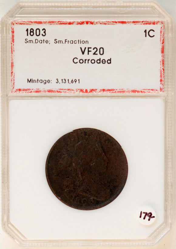 1803 Large Cent SDSF VF20 (Corroded) PCI