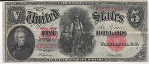 "1907 USN $5 ""Wood Chopper"" Note"