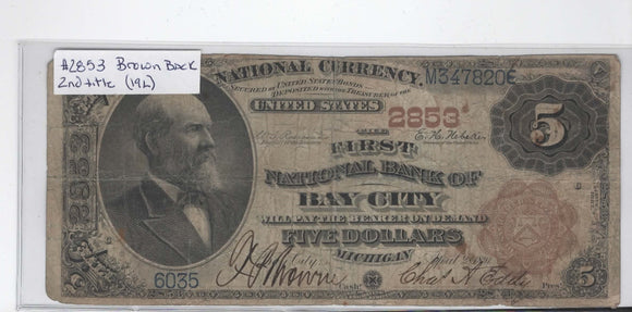 1882 Series $5 FNB of Bay City, Michigan #2853