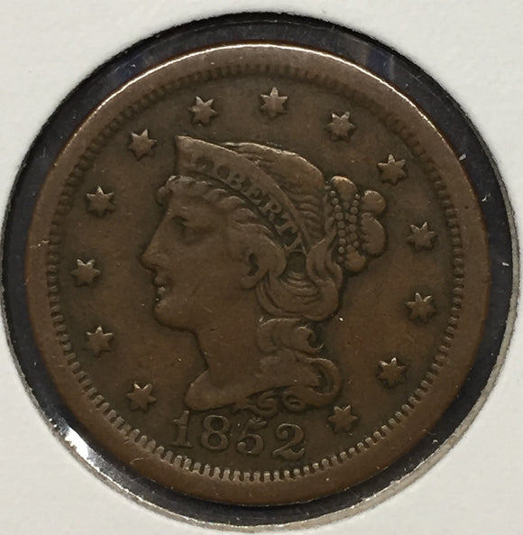 1852 Large Cent VF30