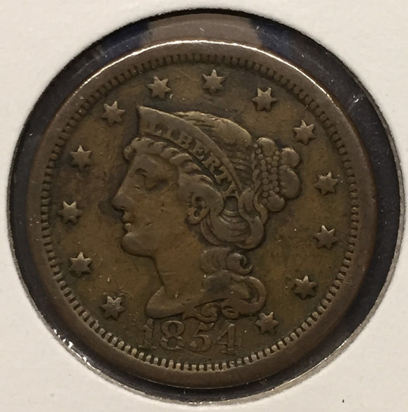 1854 Large Cent VF30