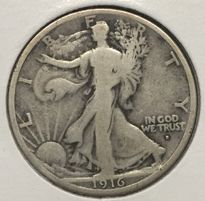1916-D Walking Liberty Half VG+