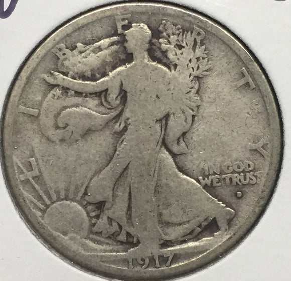 1917-D OBV Walking Liberty Half GD-4