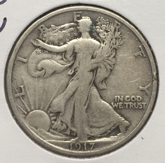 1917-D REV Walking Liberty Half VF