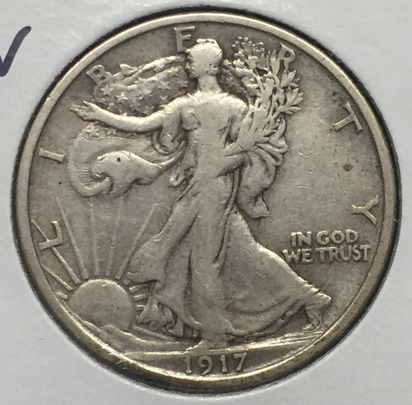1917-S REV Walking Liberty Half VF-30