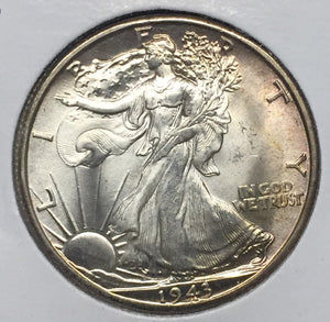 1943-D Walking Liberty Half, MS64+