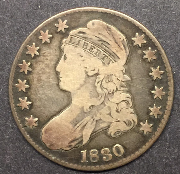 1830 Capped Bust Half, Lettered Edge, F.