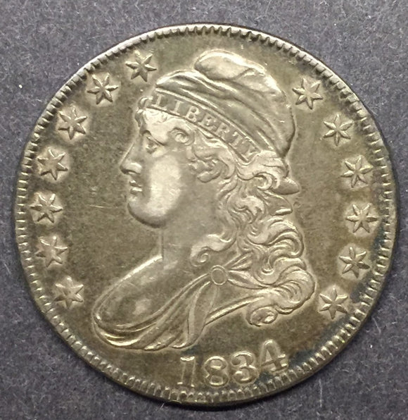 1834 Capped Bust Half, Lettered Edge, XF/AU.