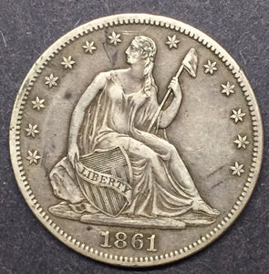 1861 Seated Liberty Half XF