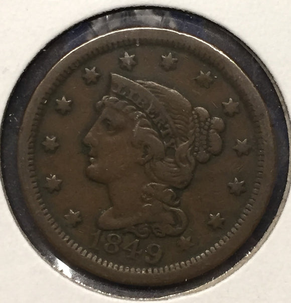 1849 Large Cent. VF Coronet