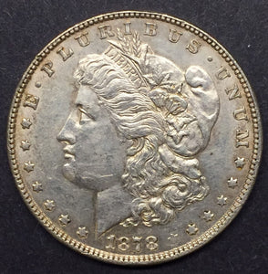 1878 7TF, REV '78 Morgan Silver Dollar AU