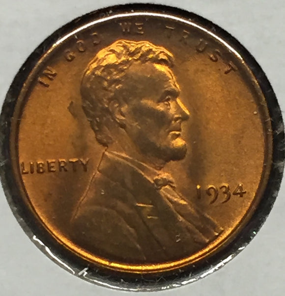1934 Lincoln Cent, MS65RD