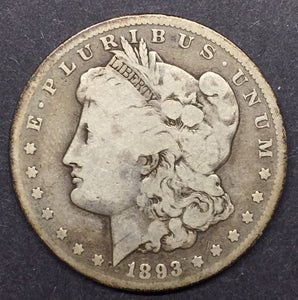 1893-CC Morgan Silver Dollar, VG