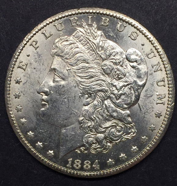 1884-CC Morgan Silver Dollar, MS-60