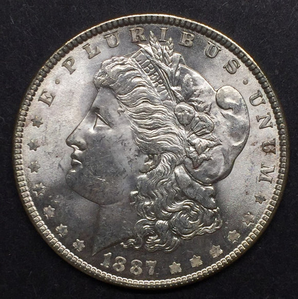1887 Morgan Silver Dollar, MS60+