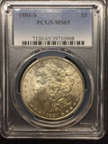 1881-S Morgan Silver Dollar, MS65 PCGS. (stock)