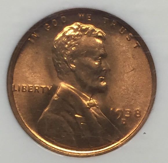 1938-D Lincoln Cent MS66RD NGC