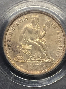 1874 Seated Dime W/Arrows AU50 PCGS