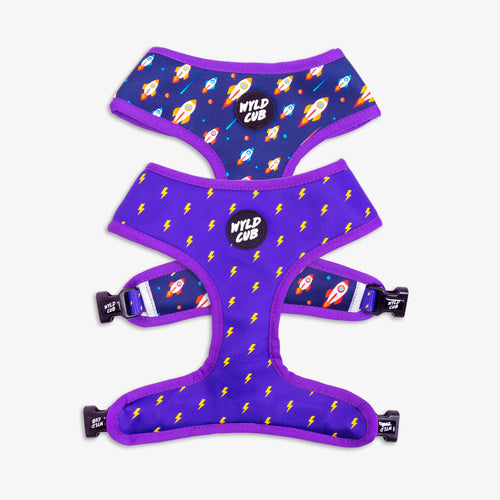 Wyld Cub purple blue lightening bolts rocket fun cool stylish quality reversible harness collar lead poo bag walk accessories set for top dog puppy breeds french bulldog frenchie bulldog cavapoo cockerpoo spaniel king Charles spaniel shihpoo labrador terrier chihuahua