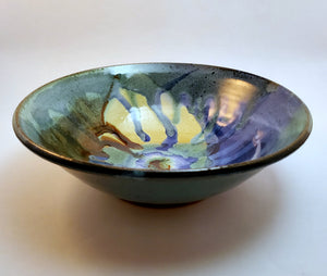 Beautiful Signature style bowl glazed in blues, greens and browns. Handmade on Vashon Island by Abraham McBride Pottery. Local ceramics artist, Seattle Washington. Local small business, Made in the USA.