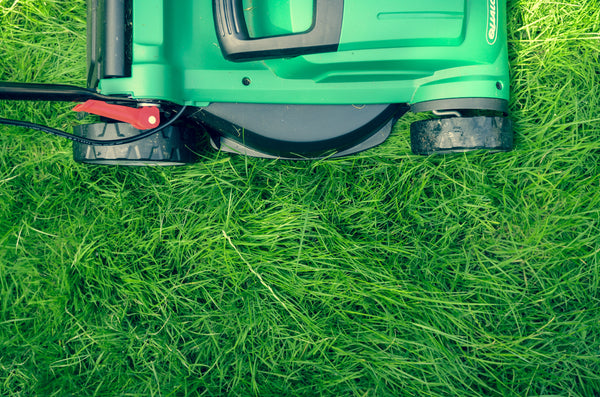 Lawn mower on grass promoting proactive lawn care