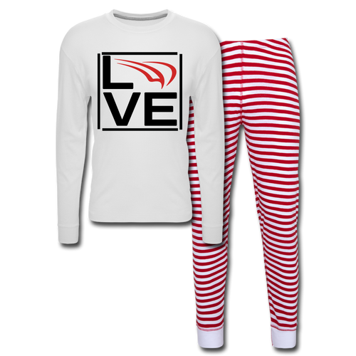 Unisex Pajama Set - white/red stripe