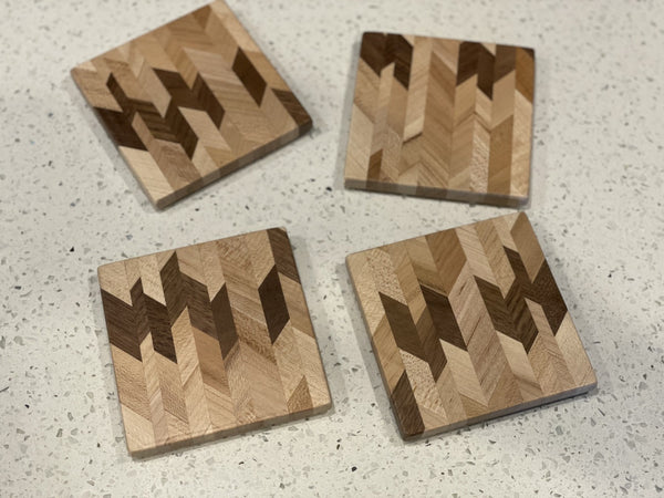 Chaotic Chevron Edge Grain Coasters