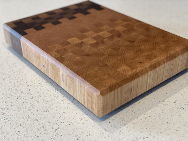 Ombré Pixels End Grain Cutting Board