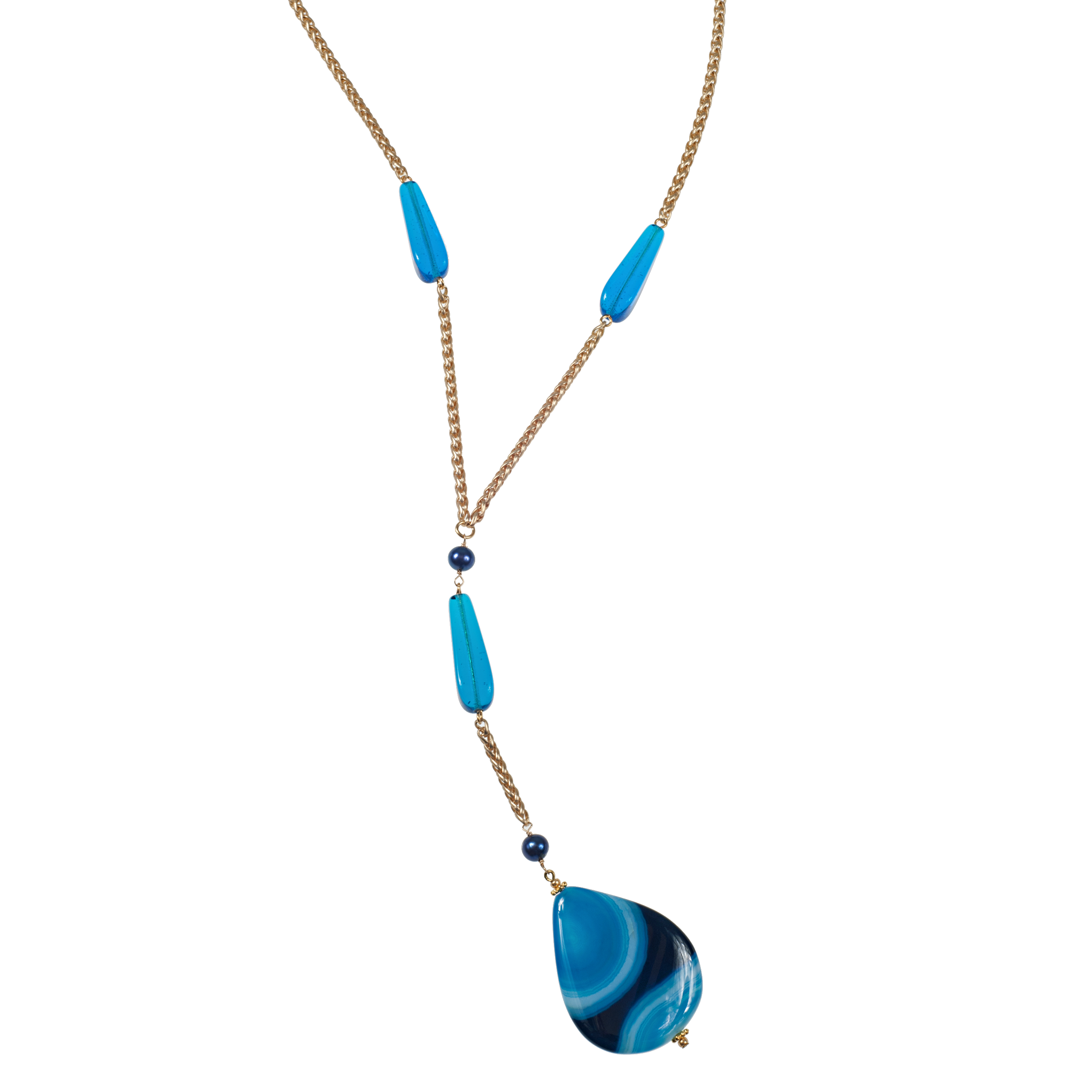 Long Blue Banded Agate Pendant On Wheat Chain - KJKStyle