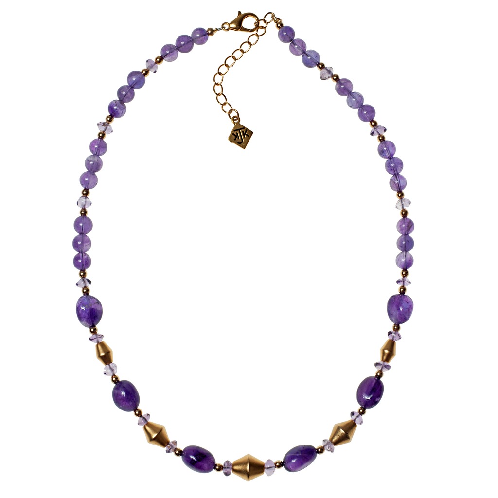 Amethyst & Satin Gold Bicone Necklace - KJKStyle