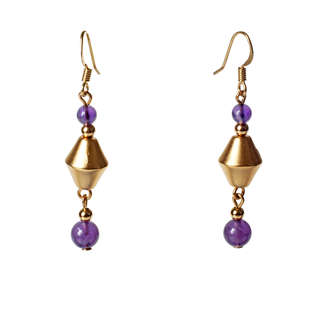 Satin Bicone and Amethyst Earrings - KJKStyle