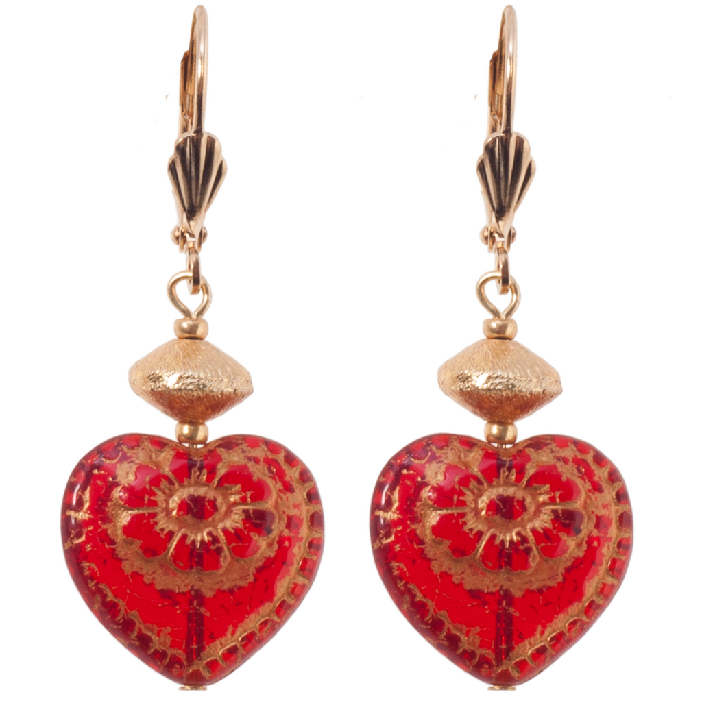 Red Czech Glass Heart Earring - KJKStyle