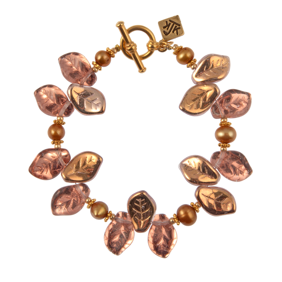 Rose Gold Bohemian Glass Leaf And Pearl Bracelet - KJKStyle