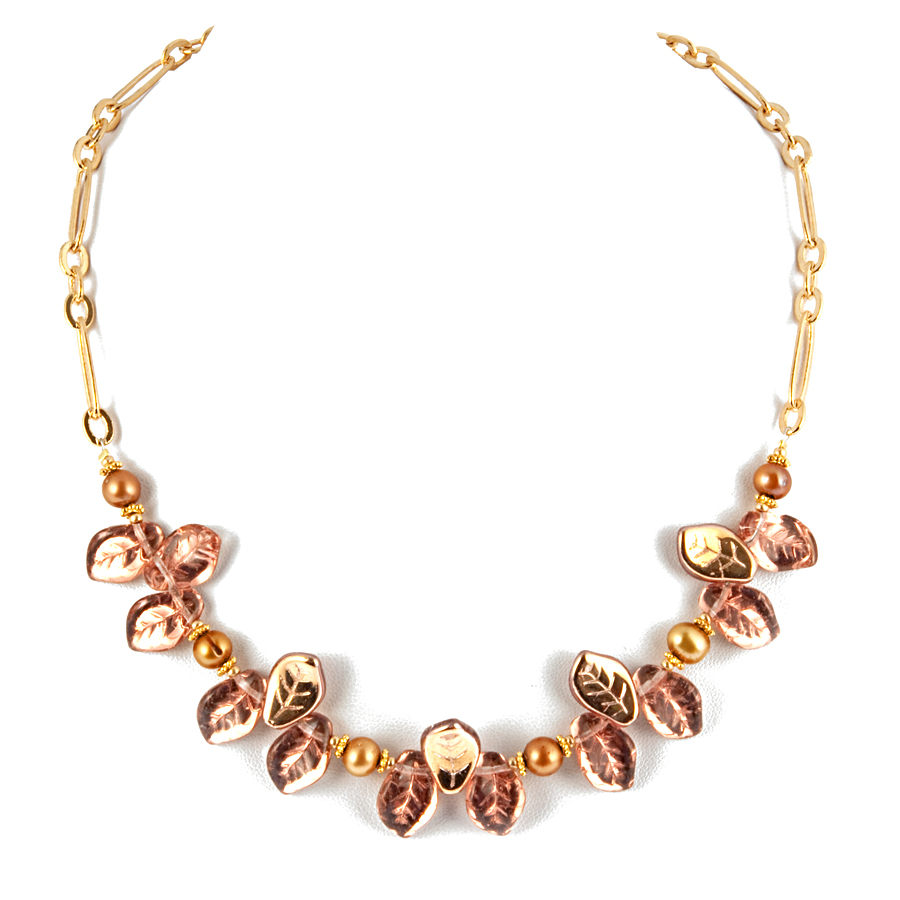 Rose Gold Glass Leaf And Pearl Necklace - KJKStyle