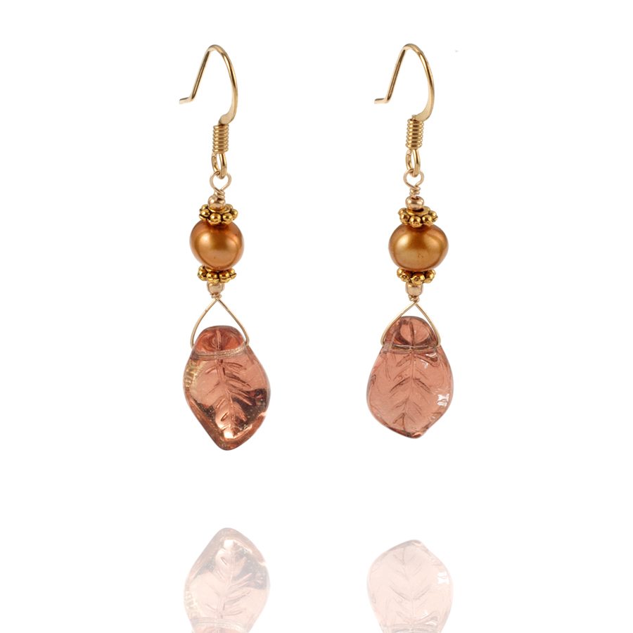 Warm Gold Bohemian Glass Leaf Drop Earring - KJKStyle