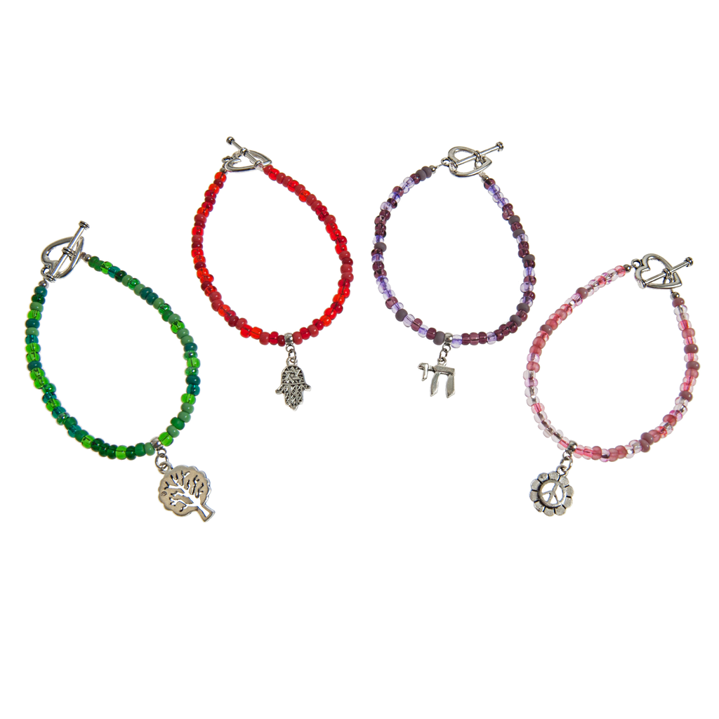 Judaica Charm on Colorful Glass Bracelet - KJKStyle