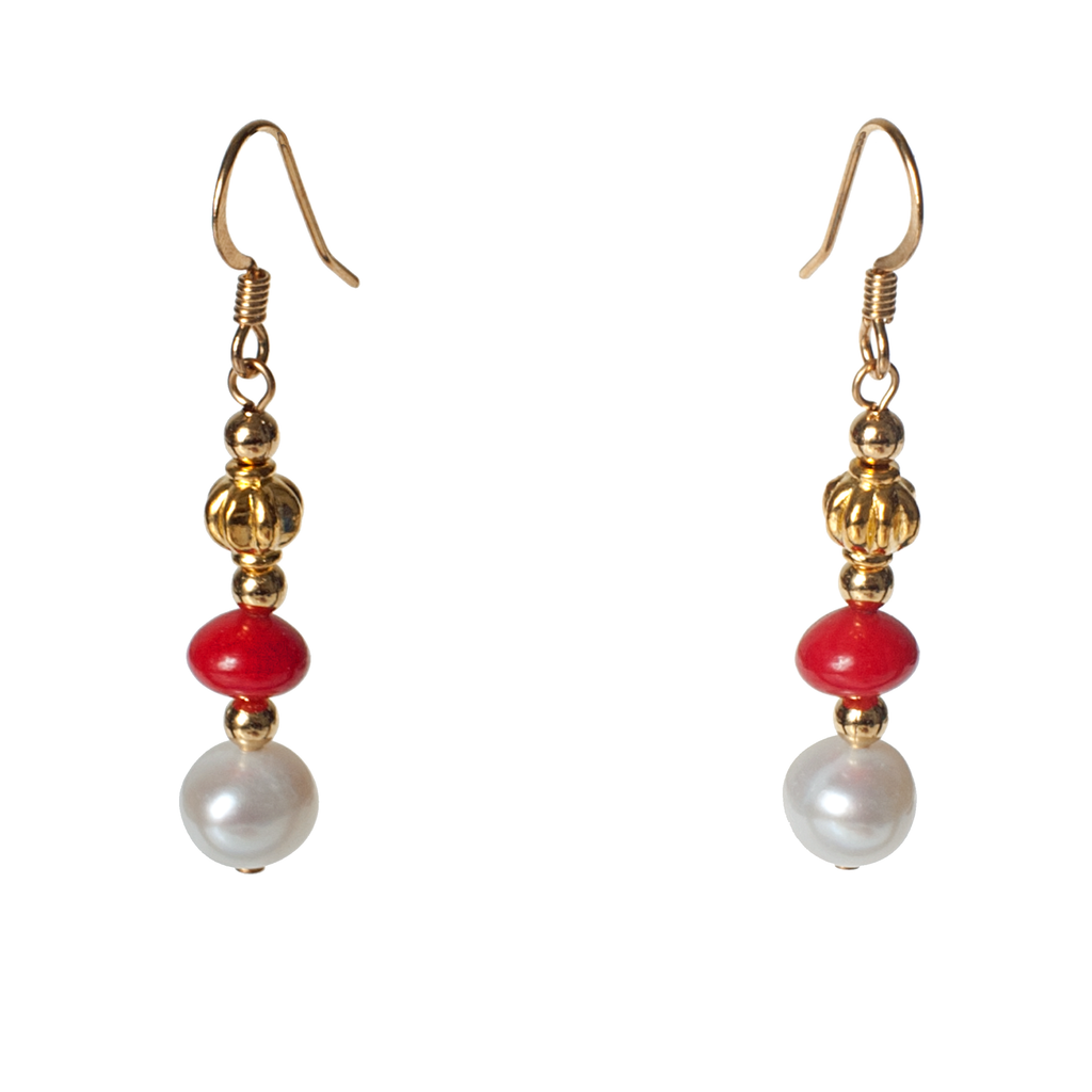 Coral With Cultured Pearl & Fluted Gold Accents Earring - KJKStyle