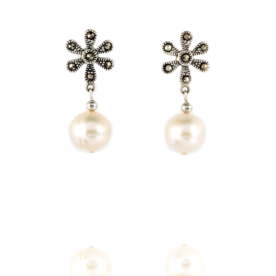 Sterling Silver and Marcasite with Cultured Pearl Post Earring - KJKStyle