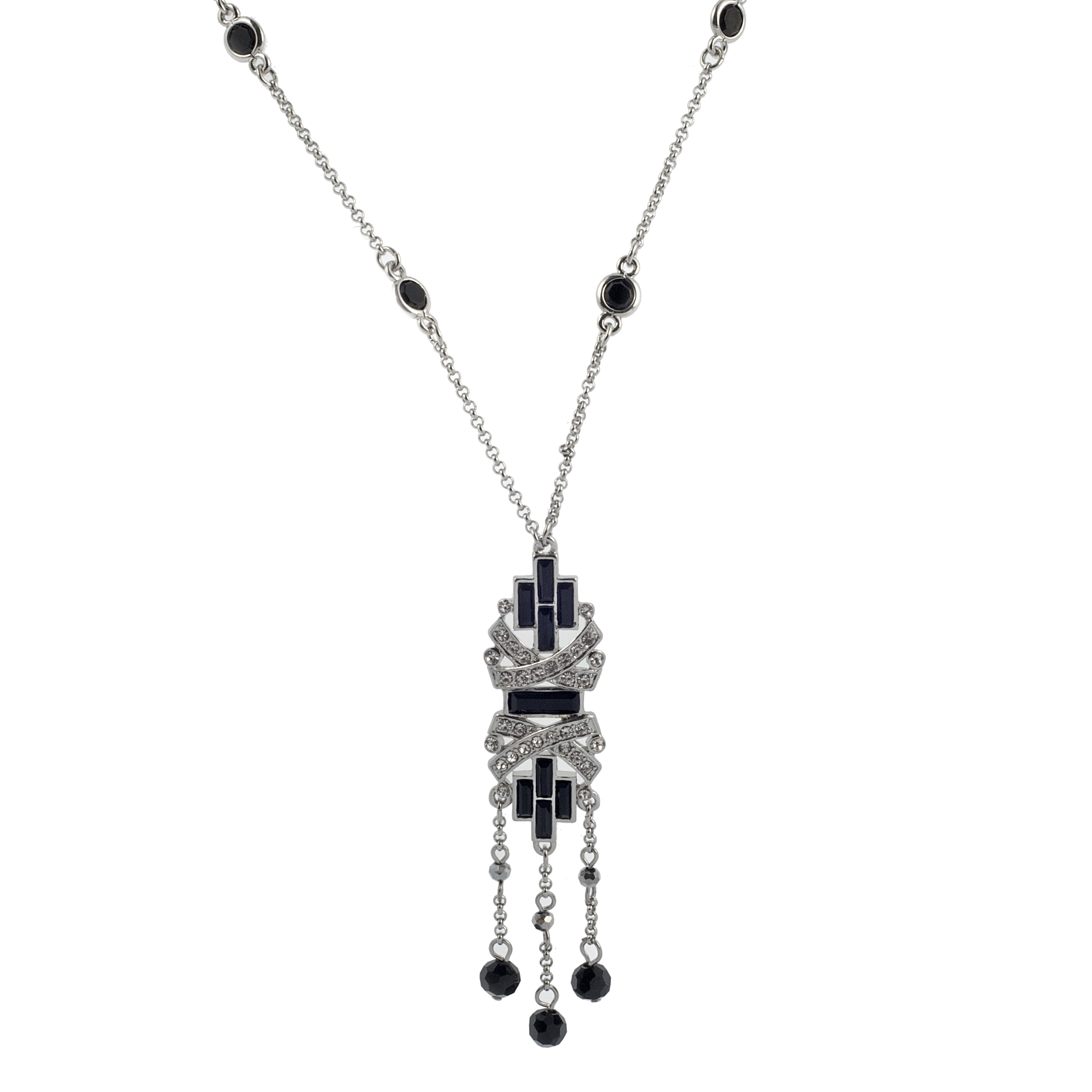 Art Deco Black and Crystal Necklace - KJKStyle