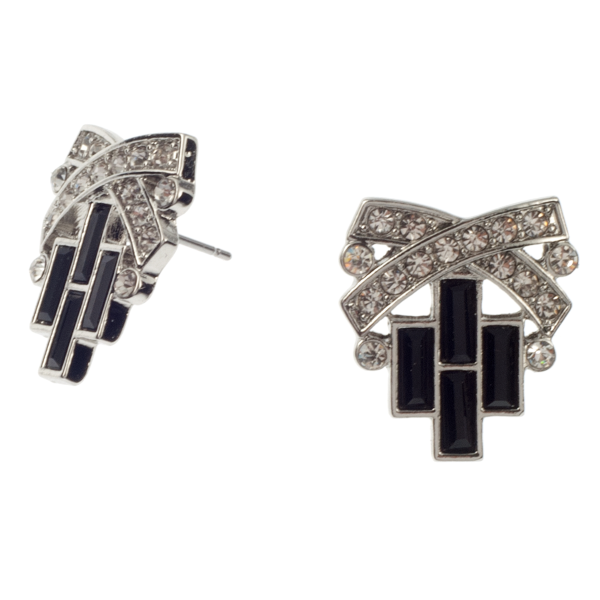 Black and Crystal Deco Post Earring - KJKStyle
