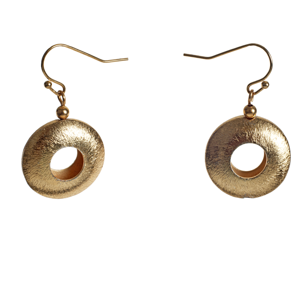 Brushed Gold Disc Earrings - KJKStyle