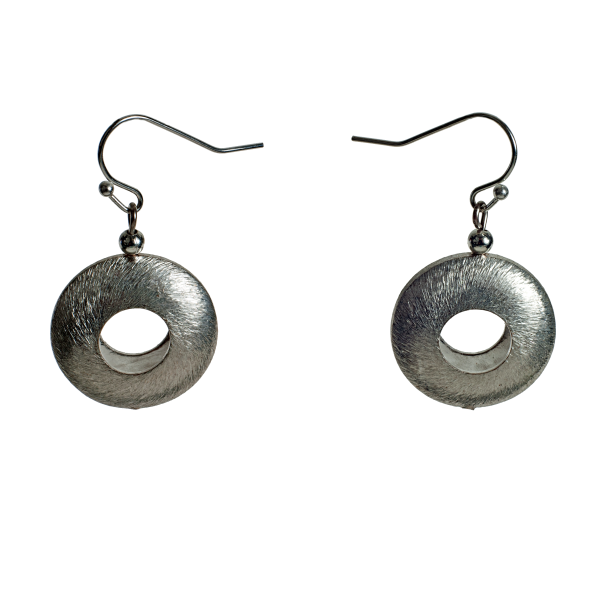 Brushed Silver Disc Earrings - KJKStyle