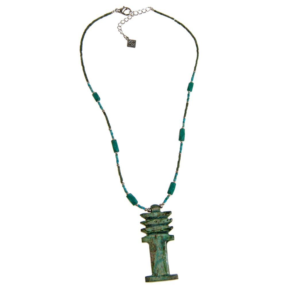 Egyptian Djet Tower and Afghani Turquoise Necklace - KJKStyle